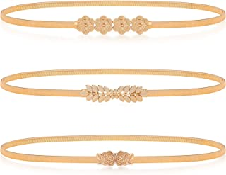 3 Pieces Women Elastic Waist Metal Chain Stretch Metal Dress Belt Skinny Gold Waistband for Women