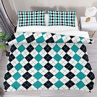 jonycm 3-Piece Bedspread Set Argyle Pattern Background Pattern 3Pcs Modern Customize Bedding Set Edredón Funda Nórdica Juego De Colcha con 2 Fundas De Almohada 1 Funda Nórdica 177X218Cm