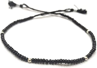 DARSHRAJ JEWELLERS 925 Sterling Silver 4 Ball With Black Beads Thread Nazariya Knot Anklet For Girls Women Free size [Sing...