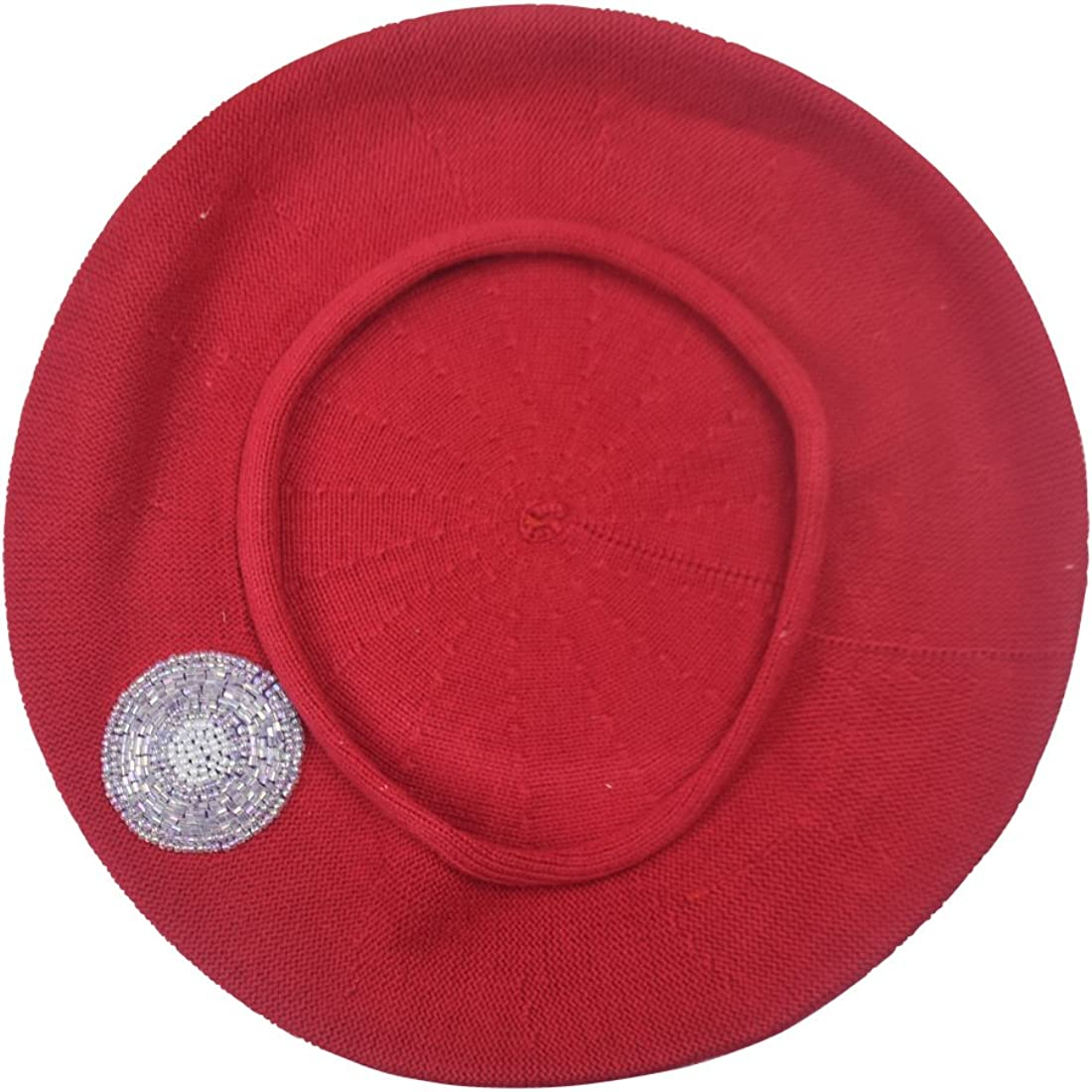 Beaded Lavender Circle on Beret for Women 100% Cotton - Red