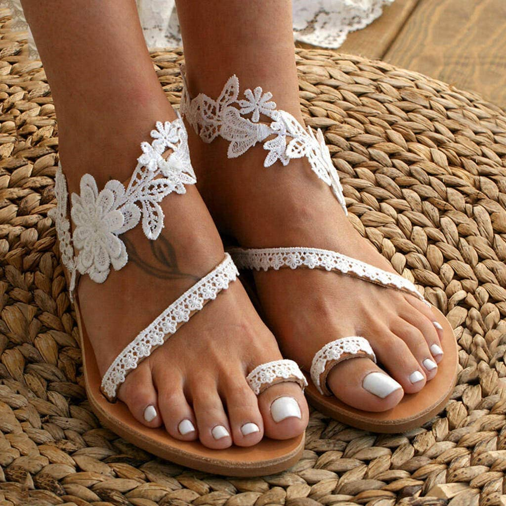 Sandals for Women,Fashion Lace Strap Flip Sandal Slip-On Flat Sh