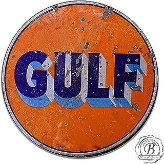 Brotherhood Vintage Gulf Oil Garage Sign Metal Garage Sign Vintage Style Garage Signs Garage Decor Metal Tin Signs Round Reproduction Aluminum Sign