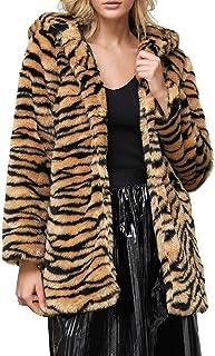 Fossen MuRope Abrigos Mujer Invierno Piel Sintética Clasico de Leopardo - Abrigos Mujer Invierno Elegantes Lana - Sudadera...