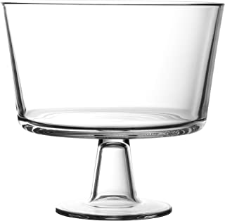 European Trifle Bowl with Pedestal, Round Dessert Display Stand for Laying Cakes, Pastries or Baked Goods, Modern Design with Crystal-Clear Borosilicate Glass, X Quart