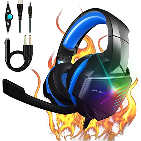 PS4 Headset Gaming Headset Xbox One Headset with 7.1 Stereo Surround Sound Noise Canceling Over Ear Headphones with Mic PC Headset 50mm Drivers Compatible with Xbox One, Switch, PC, PS3, Mac, Laptop