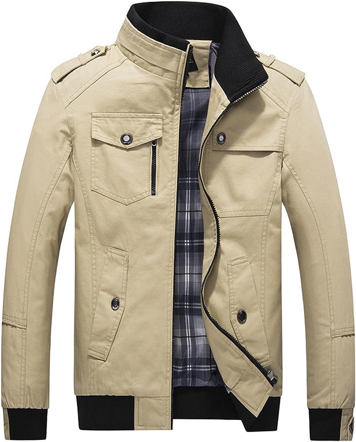 Yeokou Men's New Free Shipping Casual latest Slim Lightweight Stand Collar Zipper Cotton
