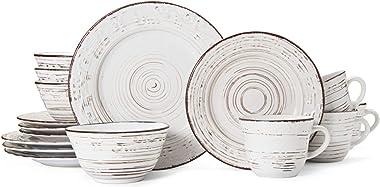 Pfaltzgraff Trellis 16-Piece Dinnerware Set, Distressed White
