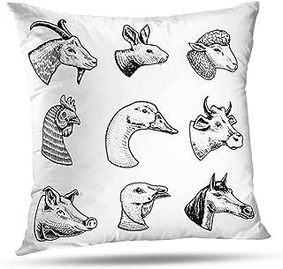 Soopat Decorative Throw Pillow Cover Square Cushion 20 x 20 Inch Farm Animals Head Horse Pig Goat Cow Llama Rabbit Sheep Signboard Menu Home Decor Pillowcase