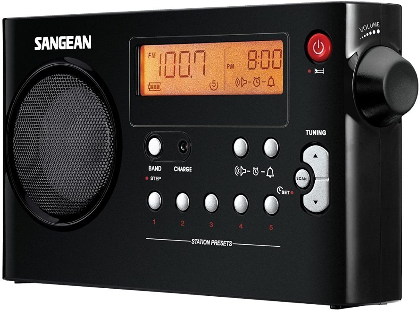 Sangean PR-D7BK FM/AM Compact Digital Tuning Portable Receiver, Black, 10 Memory Preset Stations (5 FM/5 AM), Powered by Both Rechargeable and Dry Cell Batteries, Rechargeable with Battery Power Indicator