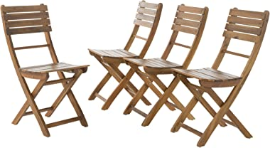 GDF Studio Vicaro   Acacia Wood Foldable Outdoor Dining Chairs   Set of 4   Perfect for Patio   with Natural Finish