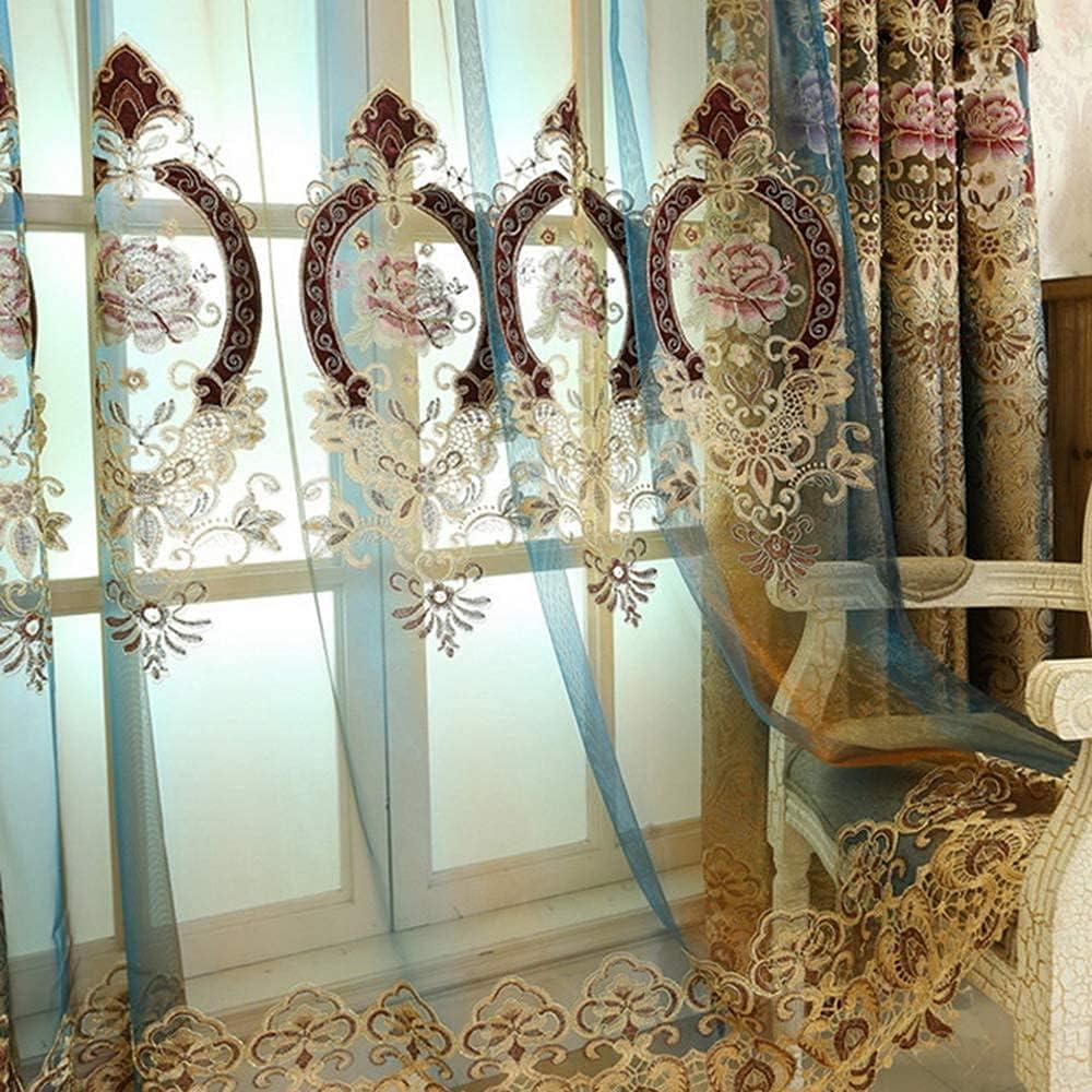 NewWPKIRA Luxury European Sheer Curtain 品質検査済 Floral 格安激安 Voile Embroidered