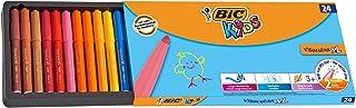 BIC Kids Visacolor XL Feutres de Coloriage à Pointe Large - Couleurs Assorties, Boîte de 24