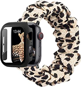 baozai Compatible with Scrunchie Apple Watch Band 40mm SE/Series 6, Cute Soft Fabric Elastic Wristband Bracelet and Apple Watch Screen Protector Case for iWatch SE Series 6 5 4 Women, Leopard, S
