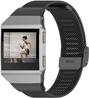 XIHAMA For Fitbit ionic バンド ステンレス鋼 ベルト 腕時計メッシストラップ 2サイズ (Sサイズ, ブラック)