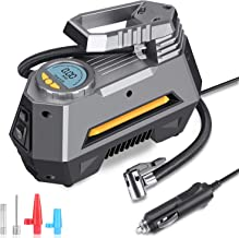 MOICO Portable Air Compressor Pump, 12V DC Digital Tire Inflator, Auto Air Pump for Car Tires,150 PSI Tire Pumpwith Led Light for Car,Bicycle,Motorcycle,Ball,Air Mattress and others