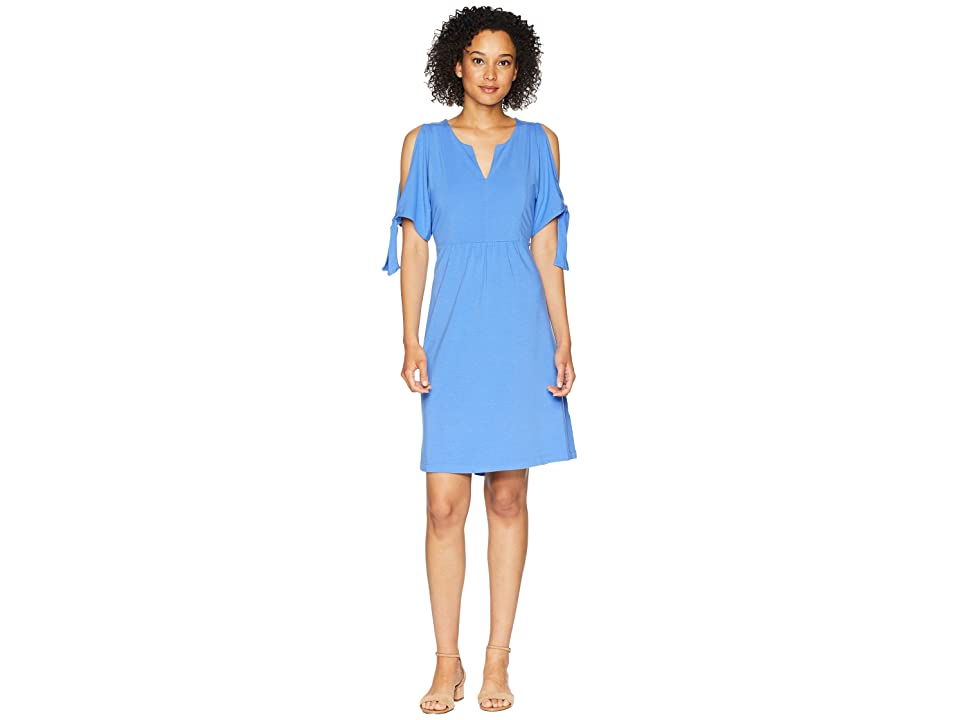 Mod-o-doc Cotton Modal Spandex Jersey Tied Sleeve Cold Shoulder Dress (Tanzanite) Women