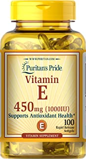 Puritan's Pride Vitamin E 1000 IU Softgels, 100 Rapid Release Softgels