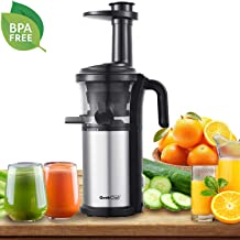 Slow Masticating Juicer Geek Chef Extractor Compact Cold Press Juicer Machine with Portable Handle/Quiet Motor/Reverse Function/Juice Jug and Clean Brush for High Nutrient Fruit & Vegetable Juice