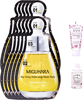 Miguhara Big 3 Step Ample Facial Mask | Ample, Moisturizer, and Sheet Mask in one | Brightening, Tone up, Moisturizing, Glowing Skin (Pack of 10)