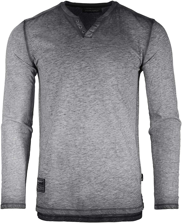 ZIMEGO Men's Vintage Wash Color Dyed Inventory cleanup selling sale Max 46% OFF Henley S Sleeve Long V-Neck
