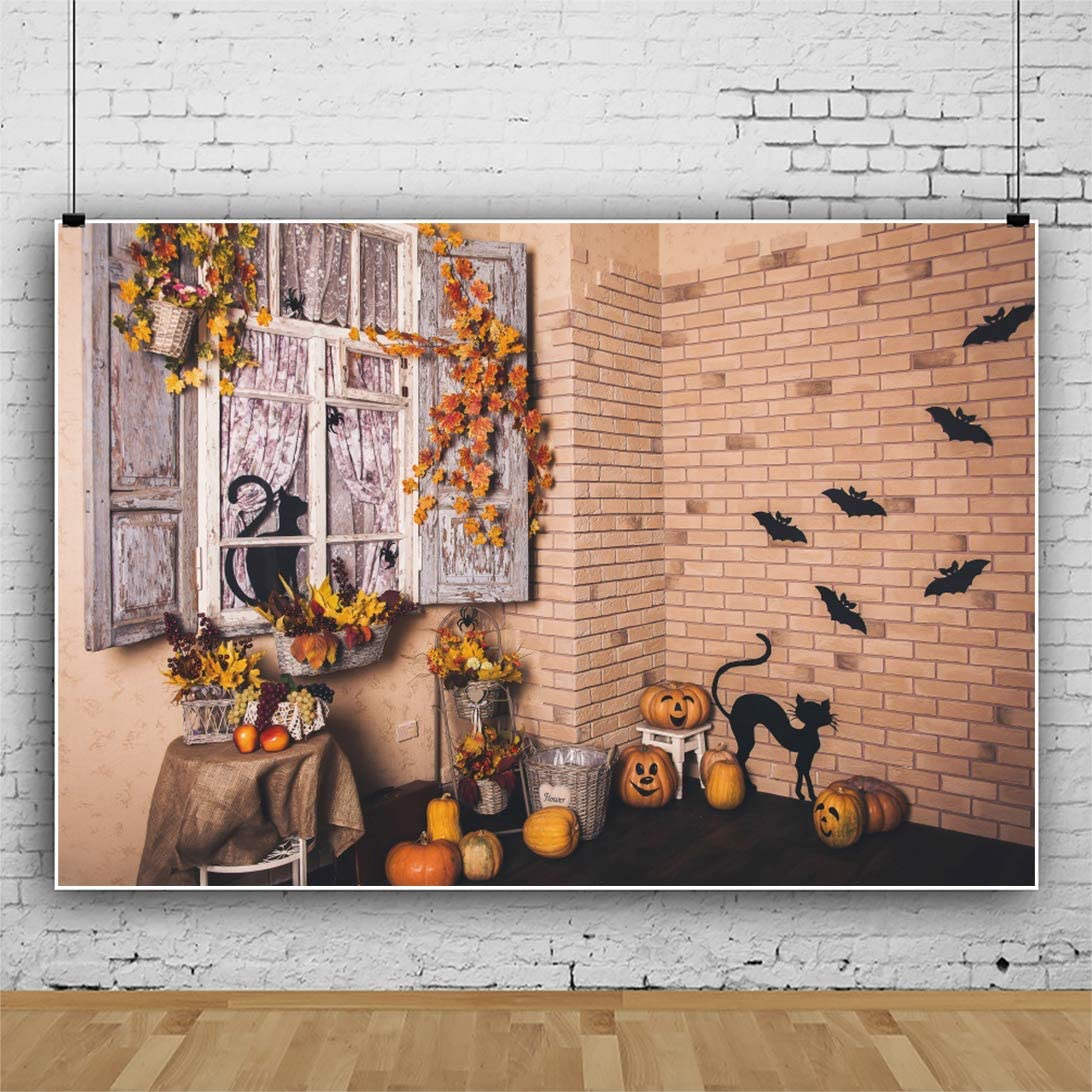 OERJU 5x4ft Happy Halloween Backdrop Decorated Room Flower Garland Black Cats and Bats Pumpkins Photoshoot Corner Halloween Photography Background Kids Adults Festive Photo Studio Props Home Wallpaper