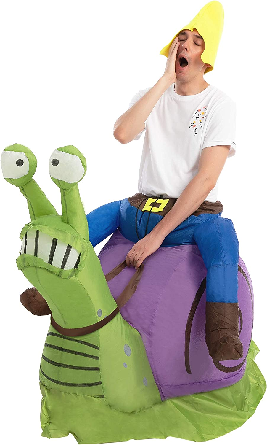 Spooktacular Creations Halloween Inflatable Costume Gnome Ride On Snail Inflatable Costume - Adult Unisex One Size Green and Purple