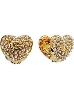 코치 귀걸이 COACH Pearl Puff Heart Huggie Earrings,White Pearl