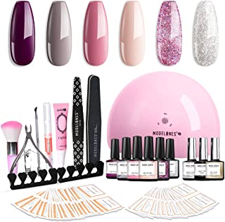 Modelones Gel Nail Polish Kit Popular Elegant Colors Gel Collection with 48W UV/LED Light - 6 Colors Gel, Matte Top Coat, Base Top Coat, Upgraded Manicure Tools