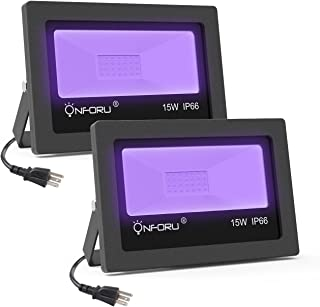 Onforu 2 Pack 15W UV LED Black Light, Ultraviolet Outdoor Flood Light, IP66 Waterproof with Plug for Dance Party, Stage Lighting, Glow in The Dark, Aquarium, Body Paint, Fluorescent Poster, Neon Glow