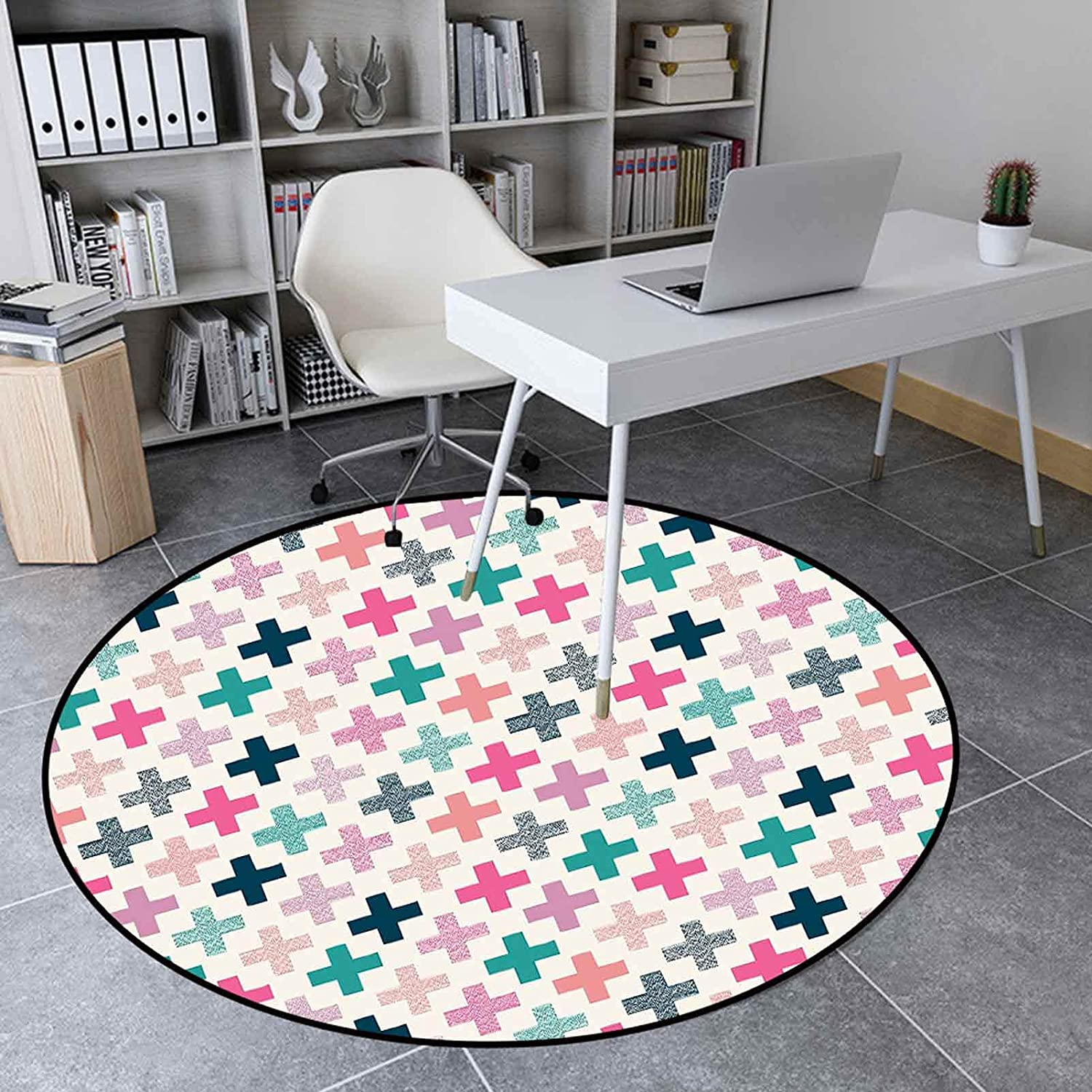 Round Area Store Rug 2.95' Indoor Floor Room Mat Col for Living Houston Mall