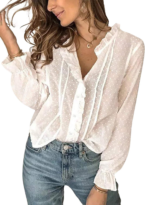 Asvivid Womens Lace Crochet V Neck Blouse Casual Short Sleeve Tunic Shirts Tops