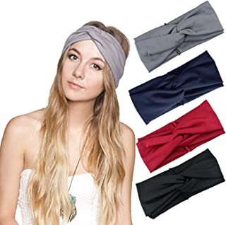 DRESHOW Cross Headbands Vintage Elastic Head Wrap Stretchy Moisture Hairband Twisted Cute Hair Accessories