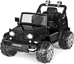 Costzon Ride on Jeep, 12V Battery Powered Ride on Truck w/Parental Remote Control & Manual Modes, Twin Motors, Music, Horn, Lights,MP3, Volume Control Functions, Kids Electric Vehicle (Black)