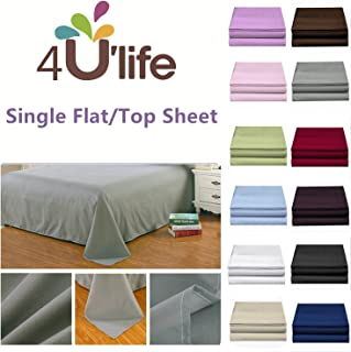 4U LIFE 2 Piece Flat Sheet-Ultra Soft and Comfortable Microfiber, Twin, Black