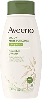 Aveeno Daily Moisturizing Body Wash for Dry Skin with Soothing Oat & Rich Emollients, Creamy Shower Cleanser, Gentle, Soap-Free and Dye-Free, Light Fragrance, 18 fl. oz
