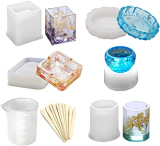MosBug Epoxy Resin Silicone Molds,Large Art Resin Molds for Ashtray/Flower Pot/Pen Candle Soap Jewelry Holder, Includes Round/Square Ashtray, Cylinder, Cube, Bowl, Mixing Cup and Wood Sticks