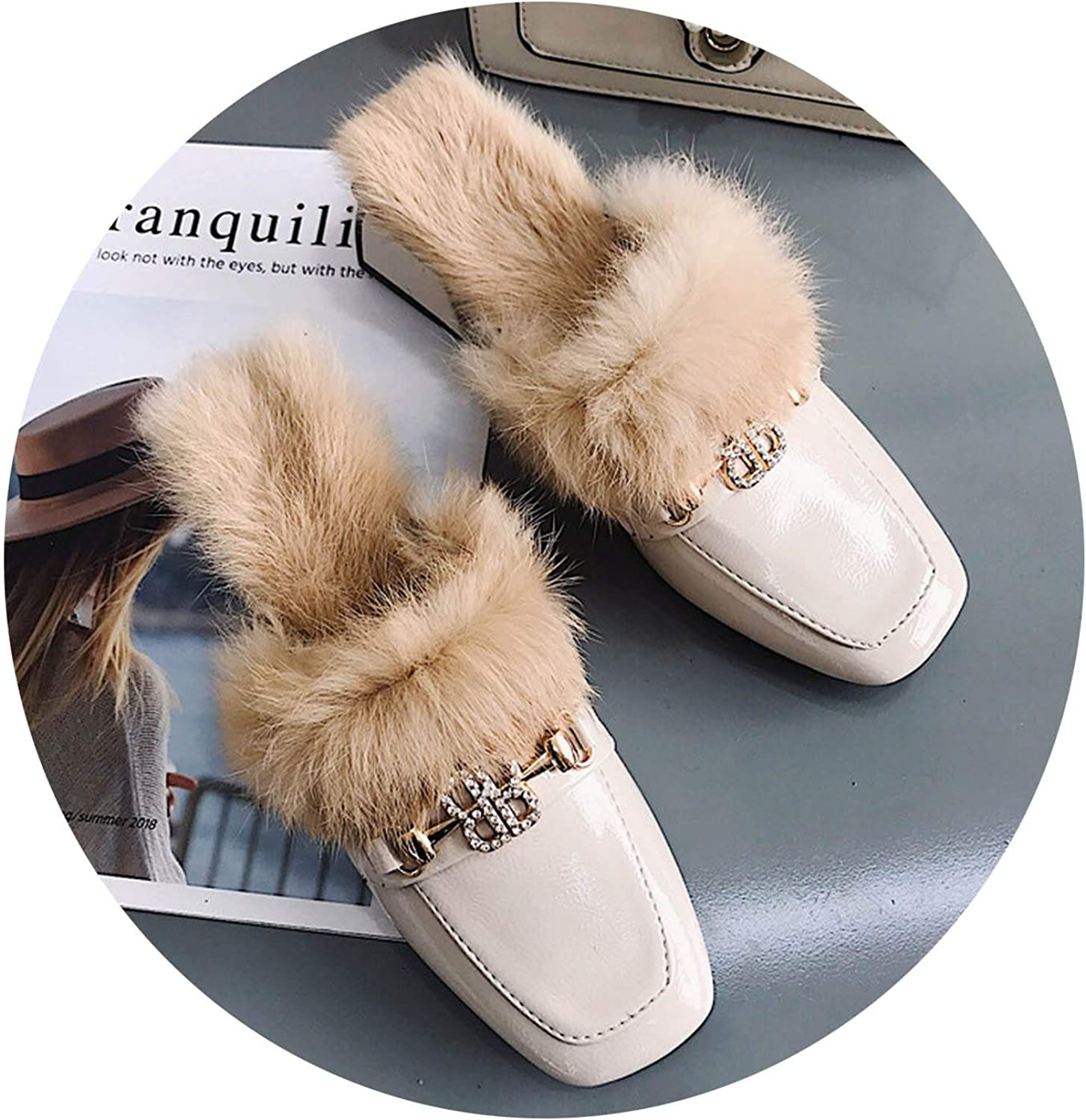 Women Fashion Half Slippers Mules shoes Thick Heel Plush Autumn Winter Loafers Warm Street Metal Chain shoes