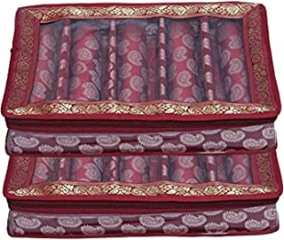 Kuber Industries® 5 Roll Brocade Bangle Box with Hard Board Support Set of 2 Pcs Maroon (Code-COM003)