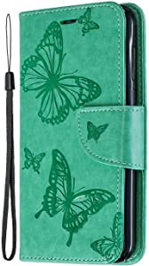 Huawei 2018 Case  SONWO Butterfly Pattern Leather Wallet Flip Case with Kickstand  Magnetic Closure and Card Holder for Huawei 2018  Light Green