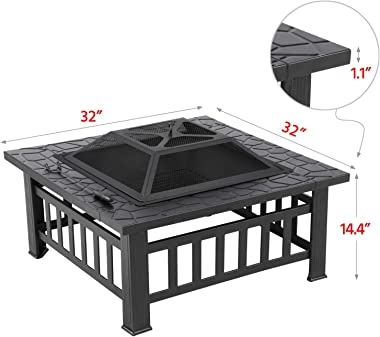 Yaheetech Fire Pit, Iron Bonfire Firepits-Includes Screen, Cover and Log Poker, 32inch