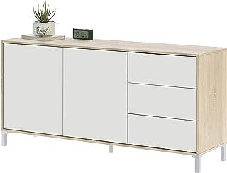 Habitdesign 016623F - Mueble aparador Modelo Brooklyn Melamina Roble Canadian y Blanco Artik Medidas: 154 cm (Ancho) x...