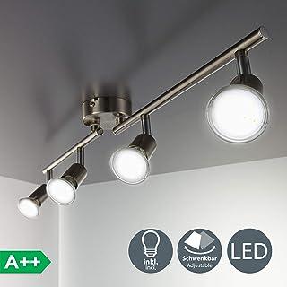 B.K. Licht Plafonnier LED 4 Spots Orientables, 4X3W, GU10, IP20, Spots  Plafond