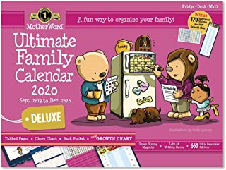 MotherWord Ultimate Family Magnetic Hanging Calendar and Chore Chart, 16-Month, Sept 2019-Dec 2020, English, Large Deluxe Version (MWFC012820)