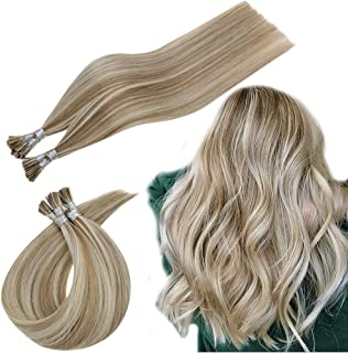 RUNATURE Keratin Fusion Hair Extensions Human Hair Brazilian Hair 0.8g Per Strand 40g Per Set 16 Inches Platinum Blonde Highlighted Ash Brown Pre Bonded I Tip Extensions Remy Human Hair