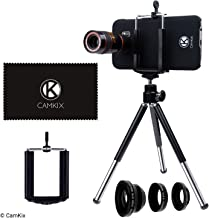 CamKix Lens Kit Compatible with Samsung Galaxy S7 and S7 Edge - 8X Telephoto Lens, Fisheye Lens, Macro Lens, Wide Angle Lens, Tripod, Phone Holder, Hard Case (2X), Velvet Bag and Cleaning Cloth