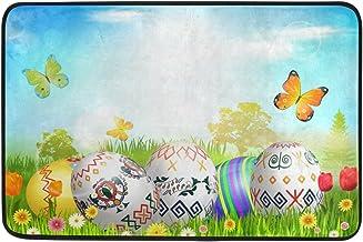 JSTEL Nonslip Door Mat Home Decor, Stylish Easter Colorful Eggs Durable Indoor Outdoor Entrance Doormat 23.6 X 15.7 Inches
