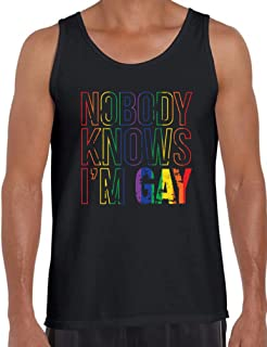 Awkward Styles Men's Nobody Knows I'm Gay Tank Tops for Men Rainbow Flag Gay Pride Tank Tops for Men