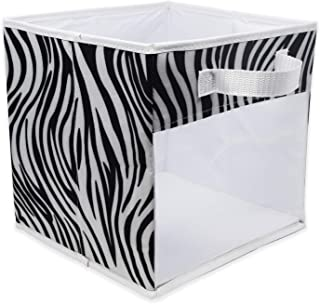 EASYVIEW Storage Basket Cube Bins with Clear View Mesh Side, 2-Handles All Woven Oxford Nylon Bin, Foldable, Zebra Stripes
