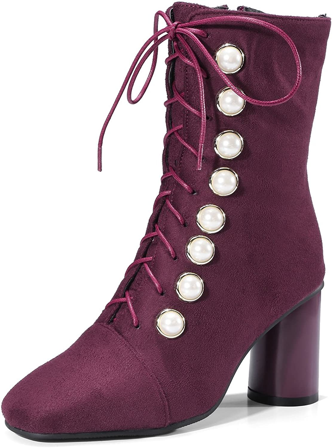 NIQI Women Faux Suede Thick High Heel Square Toe Lace up Button Ankle Boots