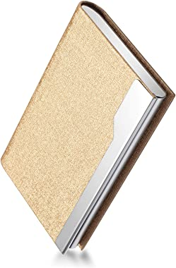FACATH Business Card Holder Case - Luxury PU Leather Name Card Holder & Stainless Steel Multi Card Case, Slim Metal Pocke